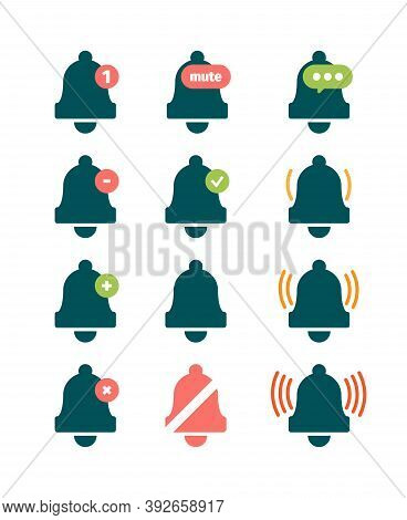 Message Bell. Sound Reminder Symbols Phone Ring Invitation Doorbells Vector Icons Collection. Illust