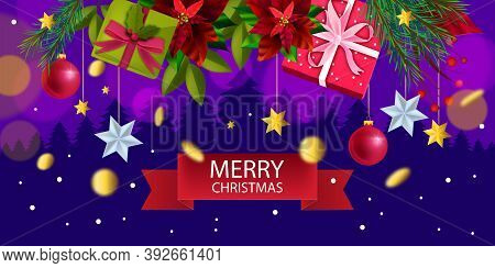 Christmas And Happy New Year Winter Background With Gift Boxes, Fir Branches, Stars, Poinsettia. X-m