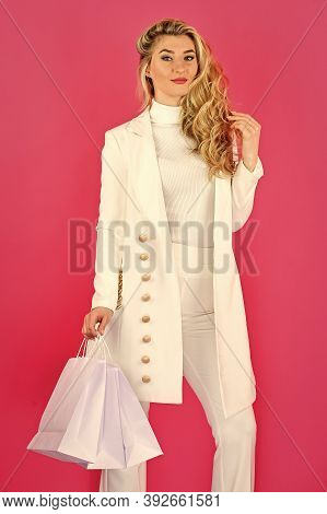 Shopping Time. Closeout And Bargain Sale In Shop. Cyber Monday Concept. Sexy Blond Woman Go Shopping
