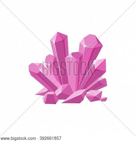 Pink Crystals Or Gemstones With Shimmering Facets. Prescious Crystal Druse Made Of Amethyst Isolated