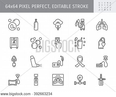 Oxygen Line Icons. Vector Illustration Included Icon - Anesthesia Mask, Ventilator, Icu, Artificial