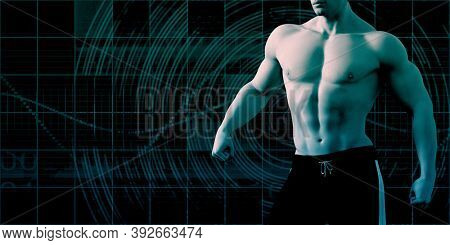 Futuristic Athlete and Sports Training Enhanced By Technology 3d Render