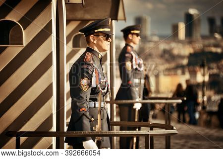 PRAGUE – OCT 8: Guard on duty at Prague Castle on October 8, 2016 in Prague, Czech Republic. Prague is the capital and largest city in Czech Republic with rich culture and history.