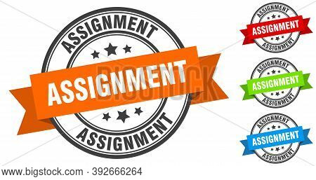Assignment Stamp. Round Band Sign Set. Label