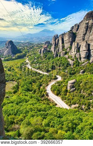 Meteora Monasteries And Main Road On A Sunny Day