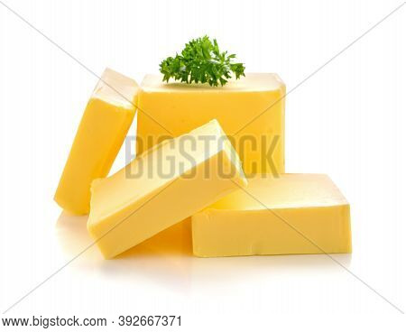 Butter Isolated On White Background, Margarine Stick
