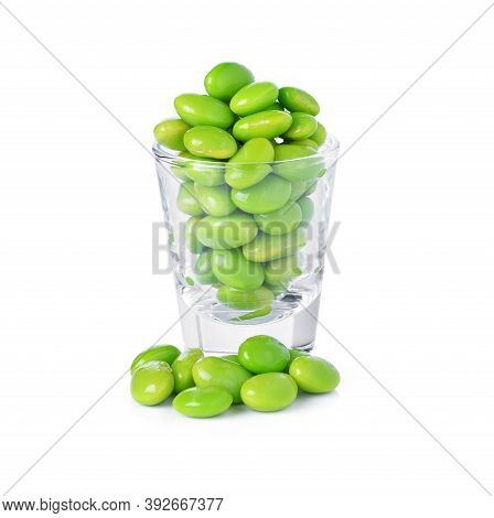Green Soybeans Isolated On White Background, Soya