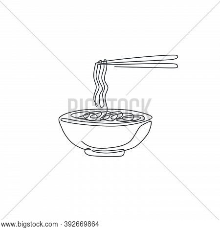 Single Continuous Line Drawing Of Stylized Spicy Noodles Store Logo Label. Emblem Ramen Fast Food Re