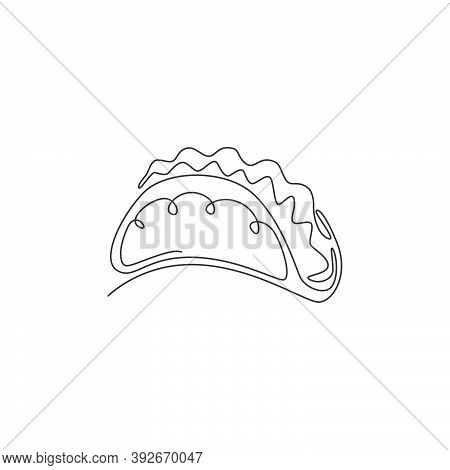 Single Continuous Line Drawing Of Stylized Mexican Tacos Logo Label. Emblem Fast Food Nacho Restaura