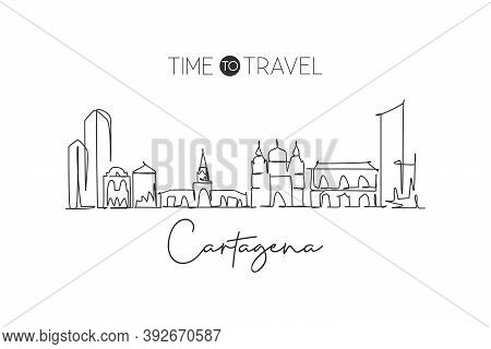 One Single Line Drawing Cartagena City Skyline, Colombia. World Town Landscape Home Wall Decor Poste