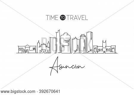 Single Continuous Line Drawing Asuncion Skyline, Paraguay. Famous City Scraper Landscape Home Wall D