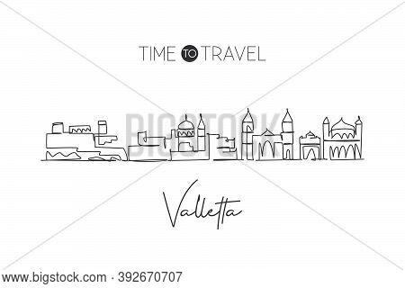 Single Continuous Line Drawing Valletta Skyline, Malta. Famous City Scraper Landscape. World Travel
