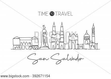 Single Continuous Line Drawing San Salvador Skyline, El Salvador. Famous City Landscape. World Trave
