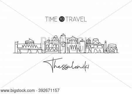 One Single Line Drawing Thessaloniki City Skyline, Greece. World Town Landscape Home Wall Decor Post