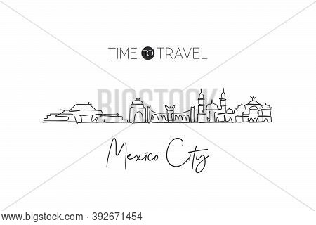 One Single Line Drawing Of Mexico City Skyline, Mexico. World Historical Town Landscape. Best Place