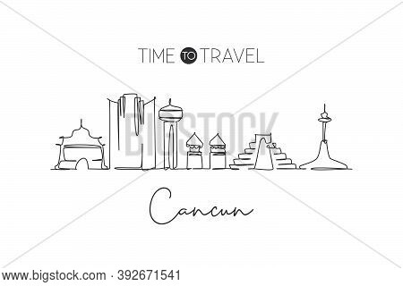 Single Continuous Line Drawing Of Cancun Skyline, Mexico. Famous City Scraper Landscape. World Trave