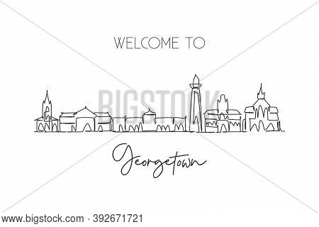 Single Continuous Line Drawing Of Georgetown Skyline, Guyana. Famous City Scraper Landscape Postcard