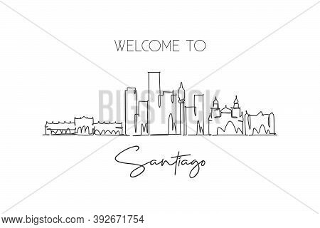 One Single Line Drawing Santiago City Skyline, Chile. World Historical Town Landscape Wall Decor Pos