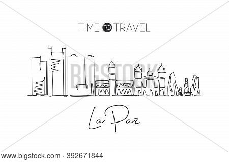 One Continuous Line Drawing La Paz City Skyline, Bolivia. Beautiful Landmark. World Landscape Touris