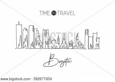 Single Continuous Line Drawing Bogota City Skyline, Colombia. Famous City Scraper Landscape Postcard