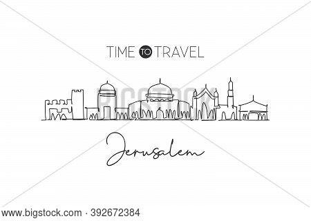 Single Continuous Line Drawing Of Jerusalem Skyline, Palestine. Famous City Scraper Landscape. World