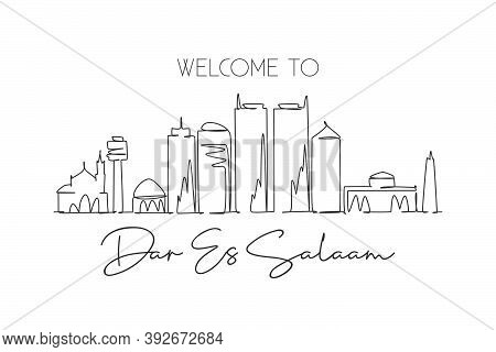 One Continuous Line Drawing Of Dar Es Salaam Skyline, Tanzania. Beautiful City Landmark. World Lands