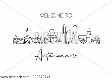 One Continuous Line Drawing Of Antananarivo City Skyline, Madagascar. Beautiful City Landmark. World