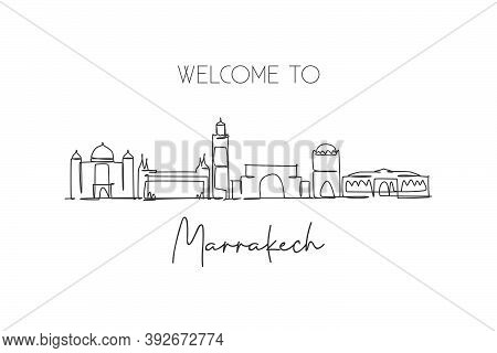 Single Continuous Line Drawing Of Marrakech City Skyline, Morocco. Famous City Scraper And Landscape