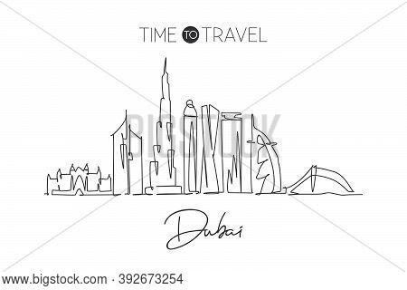 Single Continuous Line Drawing Of Dubai City Skyline, United Arab Emirates. Famous City Landscape Wa