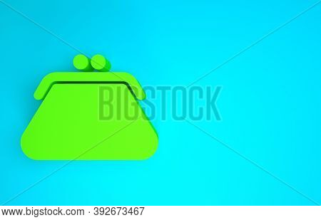Green Clutch Bag Icon Isolated On Blue Background. Women Clutch Purse. Minimalism Concept. 3d Illust