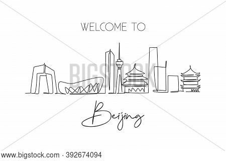 One Single Line Drawing Of Beijing City Skyline, China. Historical Town Landscape In The World. Best