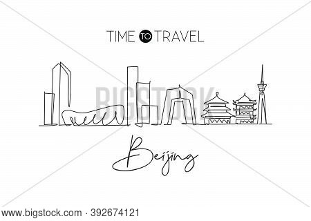 Single Continuous Line Drawing Of Beijing City Skyline, China. Famous City Scraper And Landscape. Wo