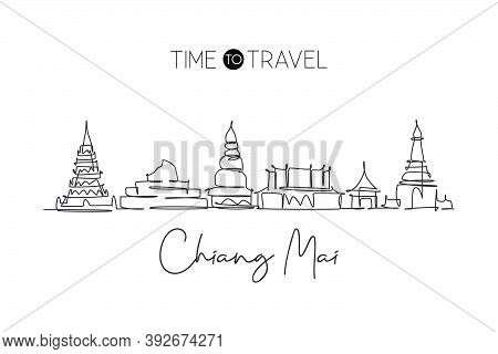 One Continuous Line Drawing Chiang Mai City Skyline, Thailand. Beautiful Landmark. World Landscape T