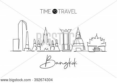 One Single Line Drawing Of Bangkok City Skyline, Thailand. Historical Town Landscape. Best Holiday D