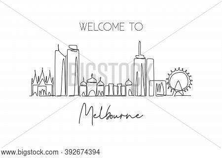 One Continuous Line Drawing Of Melbourne City Skyline, Australia. Beautiful Landmark. World Landscap