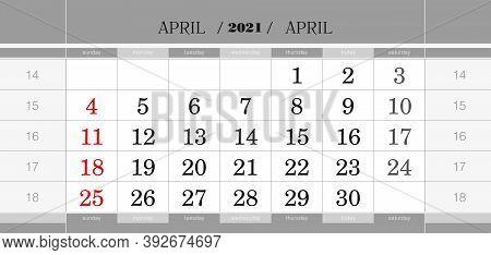 April 2021 Quarterly Calendar Block. Wall Calendar In English, Week Starts From Sunday. Vector Illus
