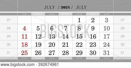 July 2021 Quarterly Calendar Block. Wall Calendar In English, Week Starts From Sunday. Vector Illust