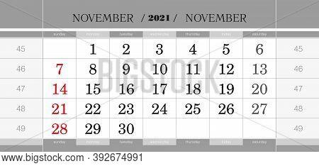 November 2021 Quarterly Calendar Block. Wall Calendar In English, Week Starts From Sunday. Vector Il
