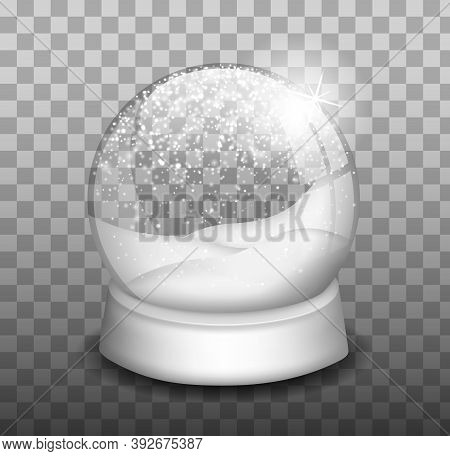 Christmas Snow Globe. Snowglobe. Winter Christmas Design Element. Glass Sphere Dome On A Stand.