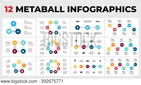 12 Metaball Infographics. Circle Diagrams And Timelines Templates Set For Your Presentation.