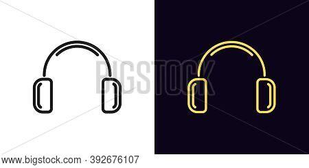 Outline Headphones Icon. Linear Earphone Sign, Isolated Wireless Headphones With Editable Stroke. Po