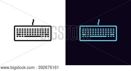 Outline Keyboard Icon. Linear Keyboard Sign, Isolated Gaming Keypad With Editable Stroke. Gadget For