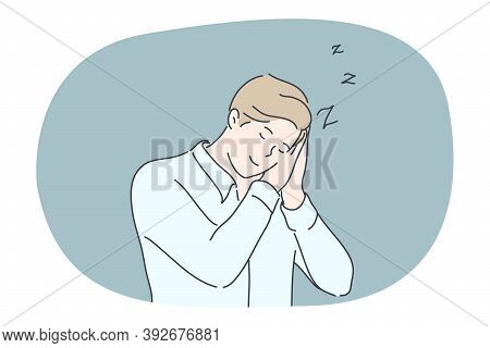Business, Sleep, Fatigue, Dream, Insomnia Concept. Tired Idle Businessman Clerk Manager Cartoon Char