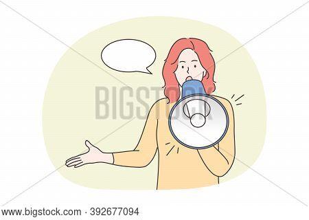 Protest, Activism, Announcement, Speech, Promotion, Attention Concept. Young Woman Protester Activis