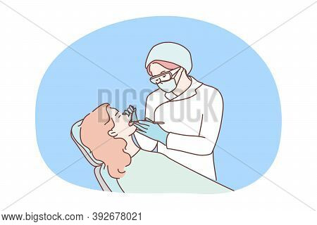 Health, Care, Medicine, Dentistry Concept. Woman Doctor Dentist Checking Examinates Healing Teeth Of