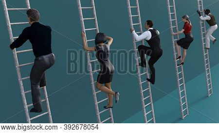 Career Progression with Corporate Ladders for Promotion 3d Render