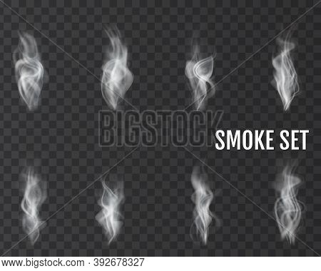 Realistic Smoke Transparent Icon Set White Abstract Object Cigarette Smoke Steam From Coffee Par Exa