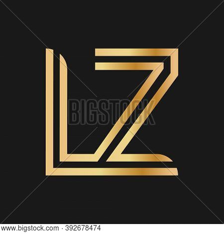 Uppercase Letters L And Z. Flat Bound Design In A Golden Hue For A Logo, Brand, Or Logo. Vector Illu