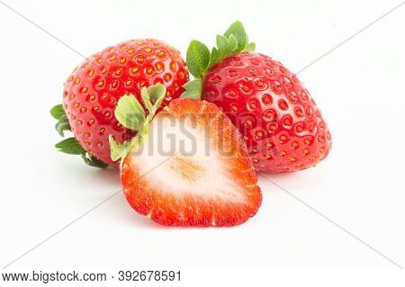 Strawberries Isolated On White Background, Garden Summer Fruit, Strawberry, Copy Space ( Fragaria )