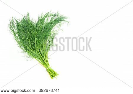 Bunch Of Fresh Green Dill Isolated On White Background, Green Leaf Vegetable, Healthy Food, (anethum